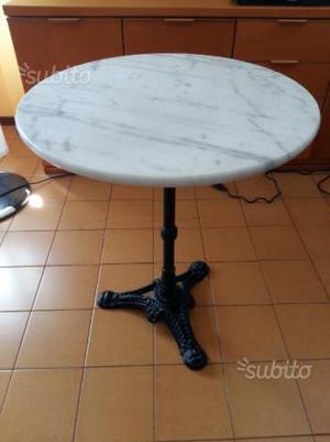 Tavolino rotondo in marmo bianco grigio