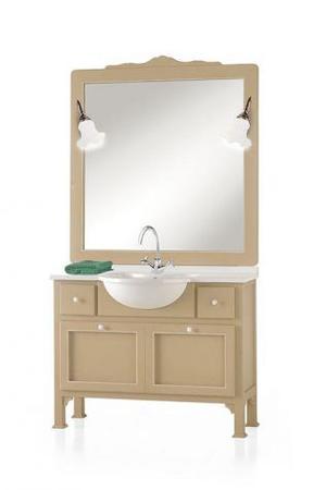 Mobile bagno con marmo e specchiera moderno laccato cod