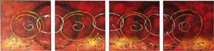 Set Di 4 Dipinti A Olio Su Tela In Sequenza. Telaio In Legno