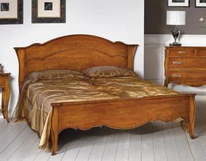 Letto matrimoniale in legno stile arte povera Cod