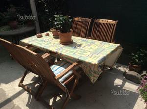 Tavolo e sedie in legno Tek