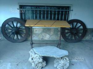 Vecchie ruote in legno da giardino,i bellezza
