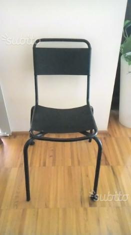 4 sedie vintage ferro laccato nero