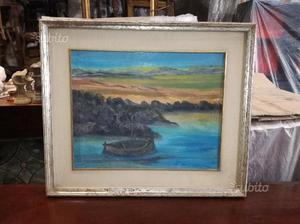 Dipinto olio su tela con cornice e passerpartout