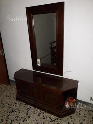 Cassapanca con specchiera antica