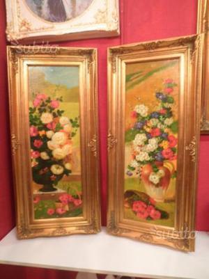 Coppia di quadri fiori fiamminghi olio su tela