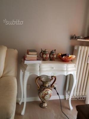 Tavolino consolle laccata bianca