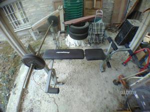 Panca pesi con bilanciere e 4x5kg