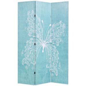 vidaXL Paravento Pieghevole 120x180 cm Stampa Farfalla Blu