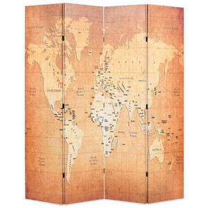 vidaXL Paravento Pieghevole 160x180 cm Stampa Mappa del