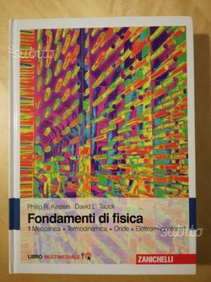 Libro universitario di fisica con copertina rigida