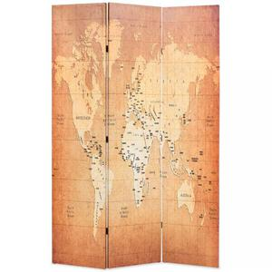vidaXL Paravento Pieghevole 120x180 cm Stampa Mappa del