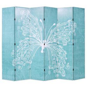 vidaXL Paravento Pieghevole 228x180 cm Stampa Farfalla Blu