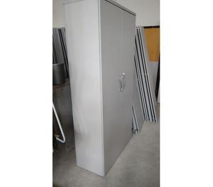 Armadi grigio in legno con 2 ante+chiave+4 ripiani metallo+p