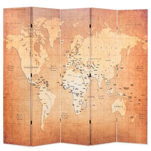 vidaXL Paravento Pieghevole 200x180 cm Stampa Mappa del