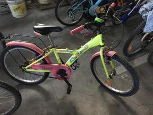 Bicicletta Bambina verde chiaro e rosa