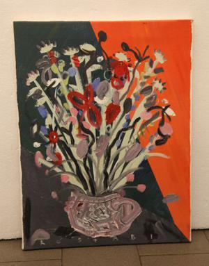 Paul Kostabi pittore olio su tela vaso fiori