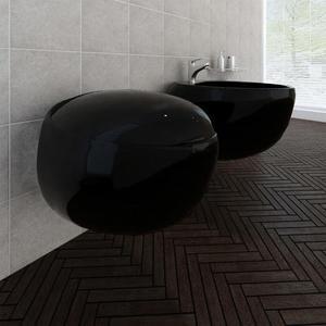 vidaXL Set Sanitari WC e Bidet da Parete in Ceramica Nera