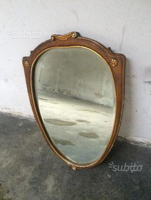 Specchio completo di cornice in legno anni '50