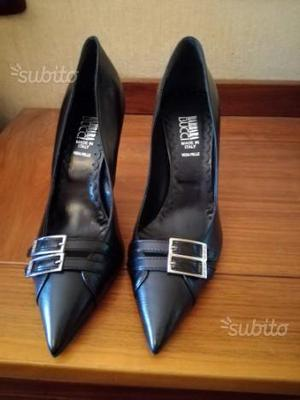 Scarpe decolte'nere con doppia fibietta