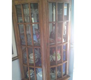 vetrina ad angolo in legno massello di ulivo
