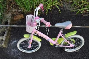 Bici bicicletta bambina 14' rosa e verde