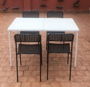 Tavolo bianco (116x74) e sedie nere da giardino