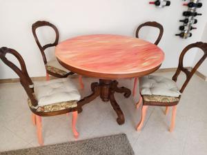 Tavolo modernariato rotondo allungabile + 6 sedie coordinate