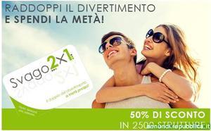 """Gift Card """"SVAGO 2x1"""" del valore di 70€ a 50€ Roma"""
