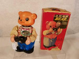 Red China tin toy battery operated/mechanical BEAR WITH