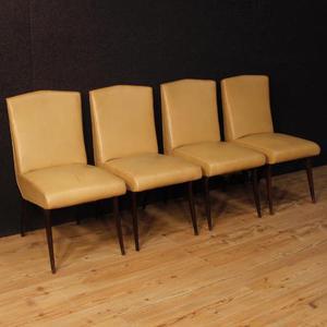 4 sedie italiane in finta pelle di design Vittorio Dassi