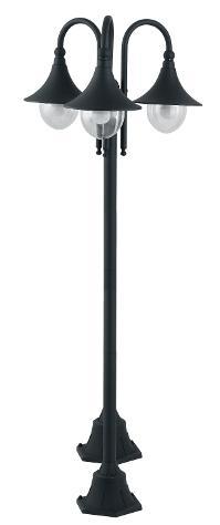 Lampione Tre Luci Impermeabile Alluminio Nero Diffusore