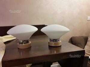 Coppia lampade applique in legno e vetro posot class
