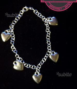 Braccialetto catena con ciondoli cuore