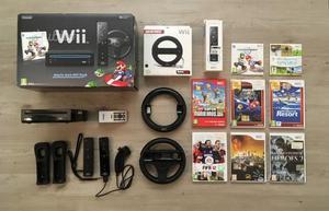 Console Nintendo Wii nera con 2 volanti e 8 giochi