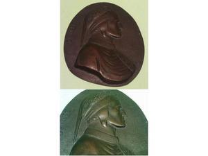 Dante alighieri antica icona da parete in bronzo