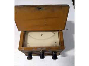 Dd 2 antico amperometro con scatola in legno