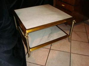 Tavolino a due ripiani in ottone e marmo anni '