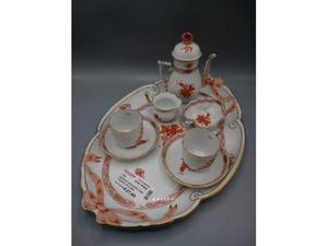 Vassoio ceramica con tazzine pz.6 arancio