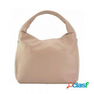 Borsa a spalla carmen in pelle morbida rosa made in italy