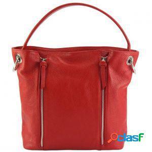 Borsa a spalla silvia rosso chiaro made in italy produzione