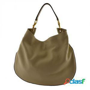 Borsa donna a tracolla acheloo taupe chiaro made in italy