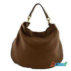 Borsa donna a tracolla acheloo taupe scuro made in italy