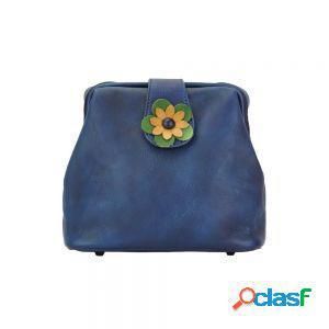 Borsetta fiore a tracolla blu scuro made in italy produzione