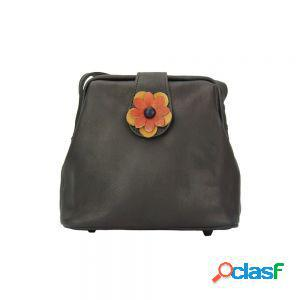 Borsetta fiore a tracolla nero made in italy produzione di