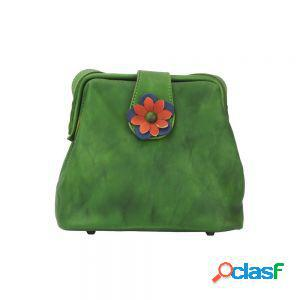 Borsetta fiore a tracolla verde scuro made in italy