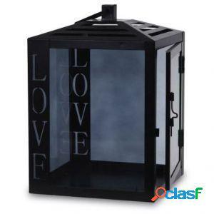 Lanterna in metallo nero love 24 x 16,5 cm