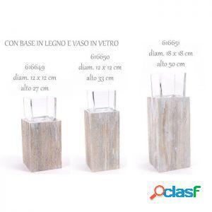 Mercury bugia con base in legno vaso in vetro 18 x 18 x 50