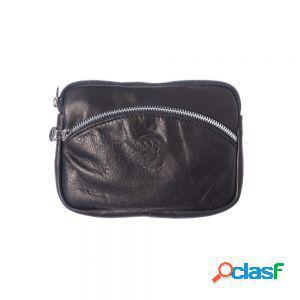 Mini borsa a tracolla in catena colore silver nero made in