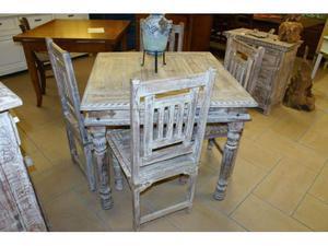 Tavolo quadrato e 4 sedie shabby chich...uniche